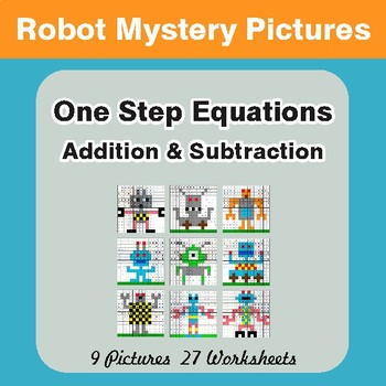 One-Step Equations (Addition & Subtraction) - Math Mystery Pictures