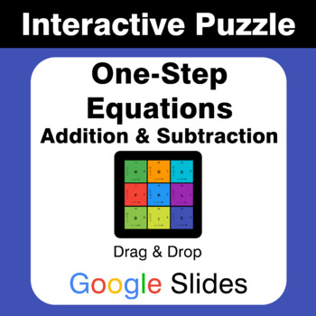 One Step Equations: Addition & Subtraction - Puzzles with GOOGLE Slides