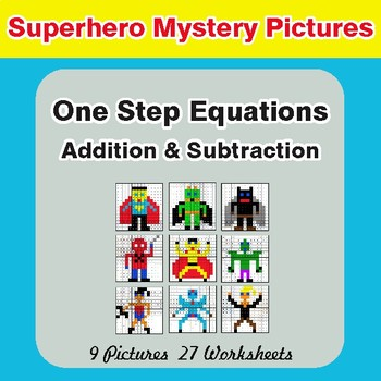 One-Step Equations (Addition & Subtraction) - Superhero Math Mystery Pictures