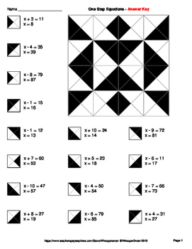 One Step Equations: Addition & Subtraction - Coloring Worksheets
