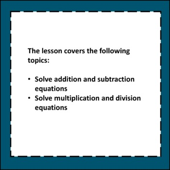 One-Step Equations Algebra Lesson