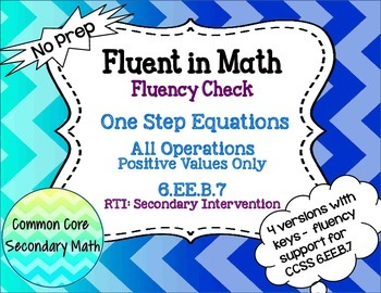 One Step Equations All Operations : No Prep Fluent in Math Series