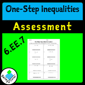One-Step Equations Assessment