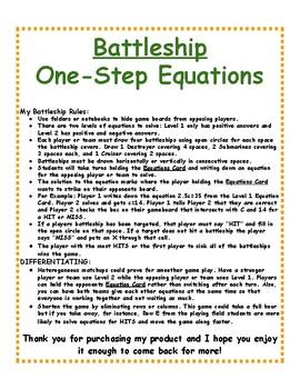 One-Step Equations: BATTLESHIP