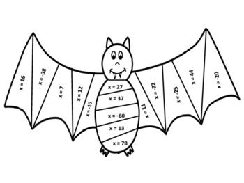 One Step Equations Bat Coloring Sheet
