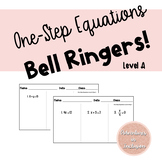 One Step Equations Bell-Ringers Level A