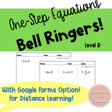 One Step Equations Bell Ringers Level B