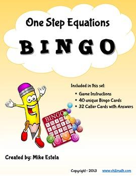 One Step Equations: Bingo Game - FREE