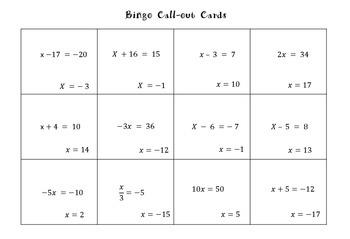 One Step Equations Bingo (Including Negatives)