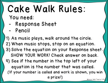 One Step Equations Cake Walk Review Game Activity