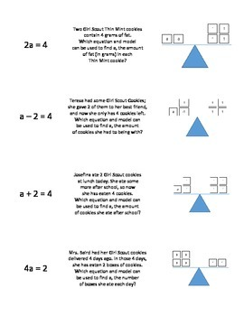 One-Step Equations Card Sort (word problem, model, and equation)