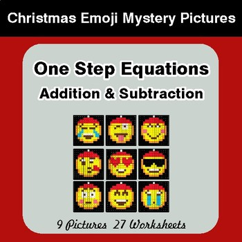 One Step Equations - Christmas EMOJI Color-By-Number Math Mystery Pictures