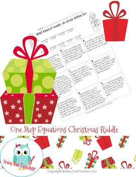 One Step Equations Christmas Riddle