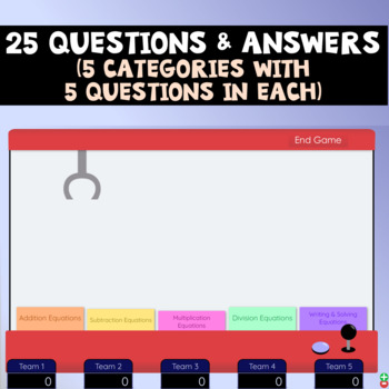One-Step Equations Claw Machine Interactive Review Game