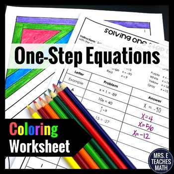 One-Step Equations Color By Number