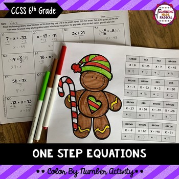 One Step Equations Color By Number Activity