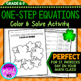 One-Step Equations Color by Number Math Activity (Perfect for St. Patrick's)