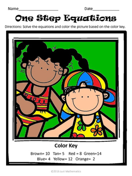 One Step Equations Coloring Activity