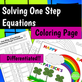 One Step Equations Coloring Page (St. Patrick's Day Theme)