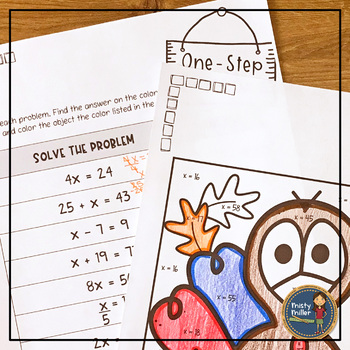 One Step Equations Coloring with Math Thanksgiving