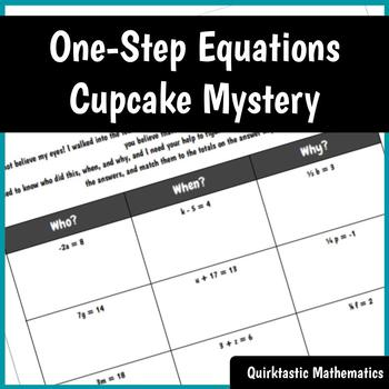 One Step Equations Cupcake Mystery with EDITABLE key