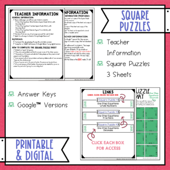 One Step Equations Digital Interactive Square Puzzles Google Drive