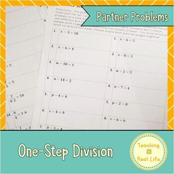 One Step Equations: Division Partner Problems