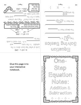 One Step Equations Foldable Notes and Practice