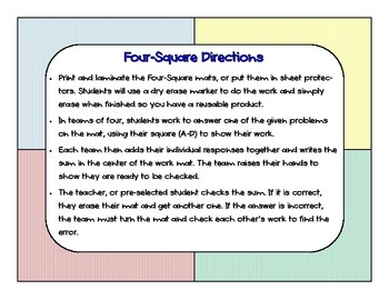 One Step Equations Four-Square