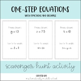 One-Step Equations: Fractions and Decimals Scavenger Hunt