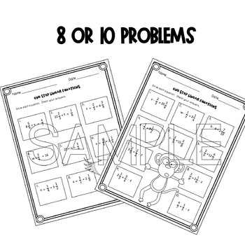 One Step Equations (Fractions and Mixed Numbers)