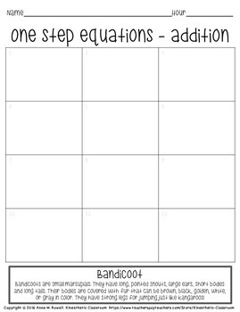 One Step Equation Worksheets: Grid Drawing Math Fun!