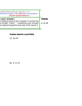 One-Step Equations: Guided CLOZE Notes, Shown Example, and Practice Questions