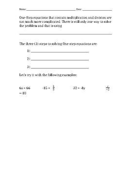 One Step Equations Guided Notes
