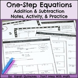 One Step Equations Notes Activity Homework Addition Subtraction