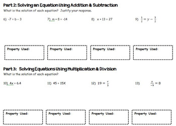 One Step Equations Guided Notes and Leveled Homework