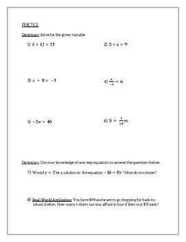 One-Step Equations: Guided Notes and Practice
