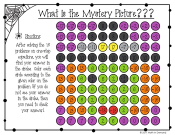 One-Step Equations Halloween Coloring Worksheet