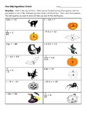 One Step Equations Halloween Worksheet (Circuit)