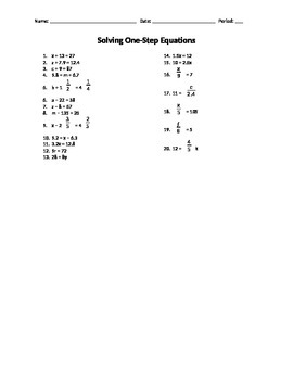 One-Step Equations Handout