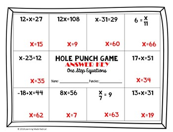 One Step Equations Hole Punch Game