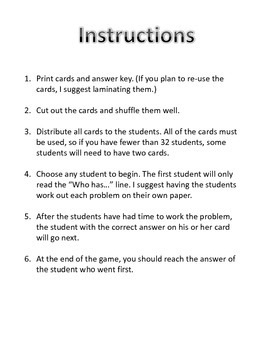 One-Step Equations I Have... Who Has? Game
