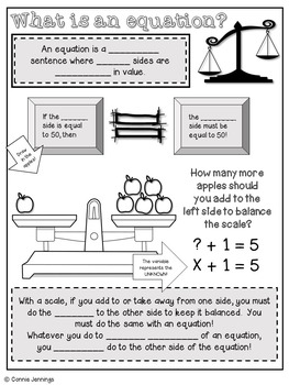 One Step Equations - Interactive NB notes, foldable and activity cards!