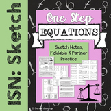 One Step Equations - Interactive NB notes, foldable and ac