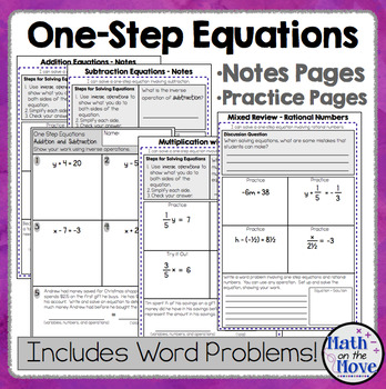 One-Step Equations (with Rational Numbers) - Interactive Notes and Assessments