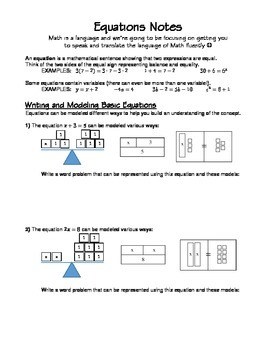 One-Step Equations Introduction-Guided Notes