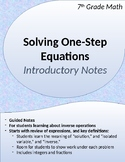 One-Step Equations: Introductory Notes