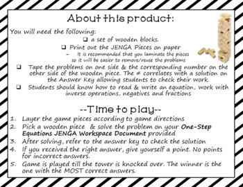 One Step Equations JENGA Game