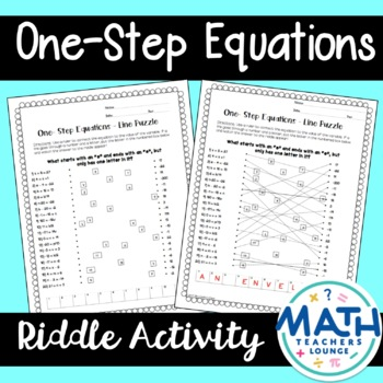 One-Step Equations: Line Puzzle Activity