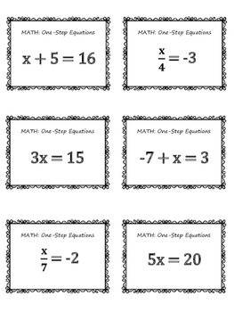 One-Step Equations MATH Bingo